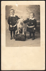 GIANT SWEET PIT BULL DOG & FOPPY VELVET OUTFIT BROTHER BOYS ~1910s VINTAGE PHOTO