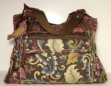 """FOSSIL Large Brown & Pink Canvas & Leather 11"""" x 14"""" Soft-Tote Handbag"""