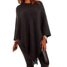 Hüftlange Damen-Pullover & -Strickware im Ponchos-Stil ohne Muster