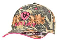 fa8918f377a39 Ariat Womens Baseball Hat Cap Hook   Loop Camo Pink Logo 15440156