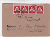 Germany 1949 Stamp Day  Dresden 4 Stamp block  stamps cover R20923