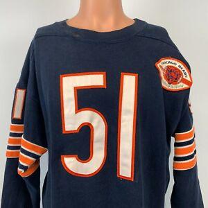 Champion Dick Butkus Chicago Bears Jersey Sweater Vtg 90s NFL Throwbacks Sewn L