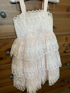 Janie And Jack Tiered Embroidered Eyelet Dress Special Ocassion Size 5 Yrs