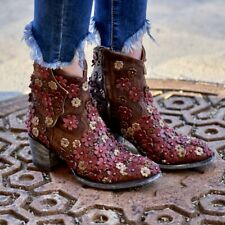 "L 840-11 OLD GRINGO HIPPIE CHICK BRASS RED BONE 7"" ANKLE BOOTS"