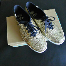 KATE SPADE KEDS Gold LIMITED EDITION Glitter SNEAKERS 9 Kick SHOES Black RARE !