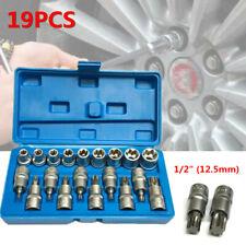 "19PCS Torx Socket Bit Set 1/2"" E Type Glossy Chrome Vanadium Steel Car Tool +Box"