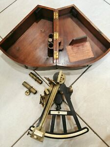 Vintage Nautical Octant by Joseph Somalvico London case box from D McGregor & co
