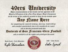 San Francisco 49Ers ~Niner Football Fan, Man Cave, Certificate, Diploma Gift