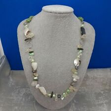 Shell- Cultured Pearl- Necklace -gemstones chipped - crystals - Green Cord