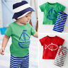 2PCS Summer Kids Toddler Baby Boy Cute T-Shirt Top Shorts Pants Outfits Clothes