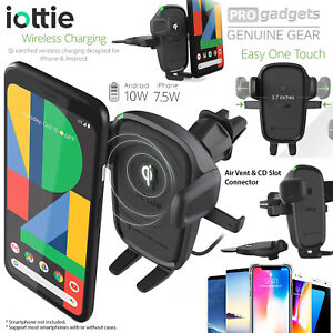 iOttie Easy One Touch Phone Fast Qi Wireless Charging Air Vent CD Slot Car Mount