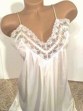 Barbizon Vintage Ivory Long Gown 100% Nylon W Lace