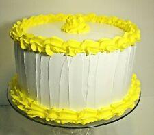 "Fake Food Fake White Cake With Yellow Border 8"" x 4"""