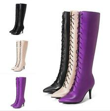 Lady Lace Up Knee High Long Boots Pointy Toe Combat Riding High Heel Size 2-12