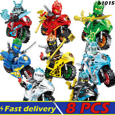 Ninja Set Ninjago Lot of 8PCS Minifigures Building Block Motorcycle Weapons Toys