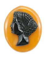 VINTAGE 1920/30'S ESTATE BLACK CELLULOID BUTTERSCOTCH BAKELITE CAMEO PIN BROOCH!