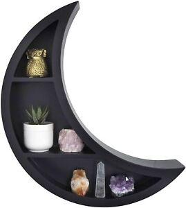 Crescent Moon Shelf in Black Wooden Wall Trinket Display Floating Shelves Decor