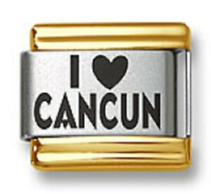Italian Charm Bracelet Links Laser I Heart Cancun Gold Trim 9mm Stainless Steel