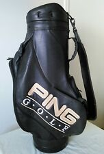 Full size black faux leather PING golf bag 6 dividers heavy duty w/rain cover