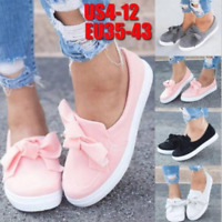 Bowknot Womens Round Toe Loafers Flats Casual Outdoor Slip On Espadrilles Shoes