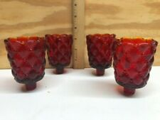 Set Of 4 Ruby Quilt Pattern Peg Votive Cup Candle Holder