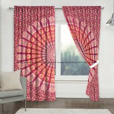 Indian Peacock Mandala Cotton Drapes Hanging Home Window Treatment Door Curtains