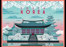 SOUTH KOREA IN WINTER KOREAN RETRO TRAVEL AD ART PRINT POSTER