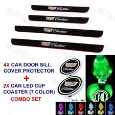 For Cadillac Black Car Door Scuff Sill Cover Panel Step Protector +LED Coaster