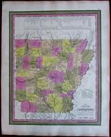 Arkansas state by itself 1846 S.A. Mitchell map
