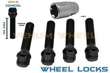 4pc Black BMW 12x1.5 40mm Shank Locking Lug bolts +1 Key Included