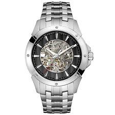 Bulova Men's 96A170 Automatic Skeleton Black Dial Silver-Tone Band 43mm Watch