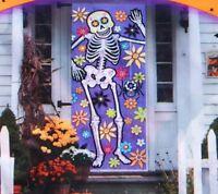 Day Of The Dead Door Cover Yard Lawn Halloween Dia De Los Muertos Sugar Skull