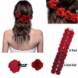 "12 pcs Women Elegant Red Rose Bridal Ha Tic Tac Hairpin Hair Clip Wedding 2"" Lot"