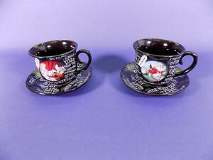 Disney Parks Alice in Wonderland Tea Cups & Saucers x 2