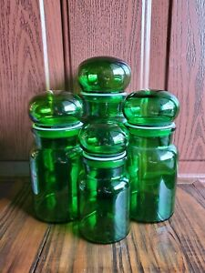Vintage 4 pc Belgium Emerald Green Glass Canister Jar Apothecary Bubble Lids Set