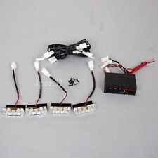 4Pcs 3 LED Amber/White Car Police Strobe Flash Light Emergency 3 Flash Mode #YO