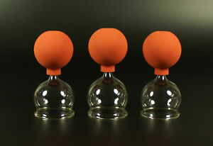 3er Schröpfset m. Ball 3x 60mm,Schröpfglas,Schröpfgläser Original Lauschaer Glas