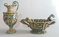 2 splendide ceramiche a lustro Robbia Gualdo Tadino da restaurare primo 900