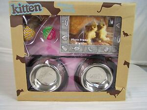 KITTEN STARTER PACK PINK GENEX FOOD WATER BOWL PLACEMAT PICTURE FRAME BALL TOY