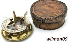 Brass Sundial Compass with Leather box Gilbert & Sons London