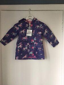 Beautiful Girl's Purple Floral Pony Cotton Coated Raincoat - Hatley - RRP £40