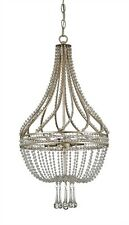 CURREY & CO COMPANY Ingenue 4 Light Chandelier, 9634, Iron, Crystal, Silver Leaf