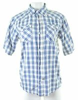 CALVIN KLEIN Mens Shirt Short Sleeve XL Multi Check Cotton Slim Fit  GS04