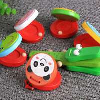 1Pc Funny Cartoon Animal Design Wooden Castanet Toy Musical Instrument Kid Gift~