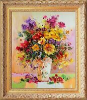 Framed Painting Signed Beautiful Impressionist Oil On Canvas Flowers / Vase