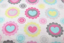 PINK & BLUE CANDY HEARTS FLANNEL FABRIC 100% COTTON SEWING QUILTING BTY