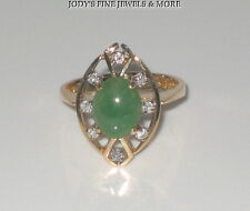 EXQUISITE ESTATE 14K YELLOW GOLD OVAL CABOCHON GREEN JADE & DIAMOND RING Size 7