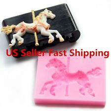 Christmas Carousel Horse Silicone Fondant Cake Mold Emboss Sugar Craft Xmas Gift