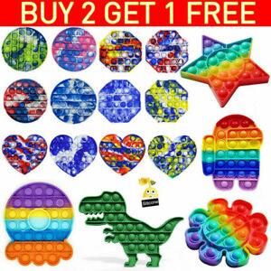 Rainbow Poppet Fidget Push Pop Bubble Sensory Toy Silicone Anxiety Stress Relief