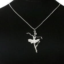 Ballet Girl Crystal Rhinestone Pendant Necklace Chain Women Accessories Fashion